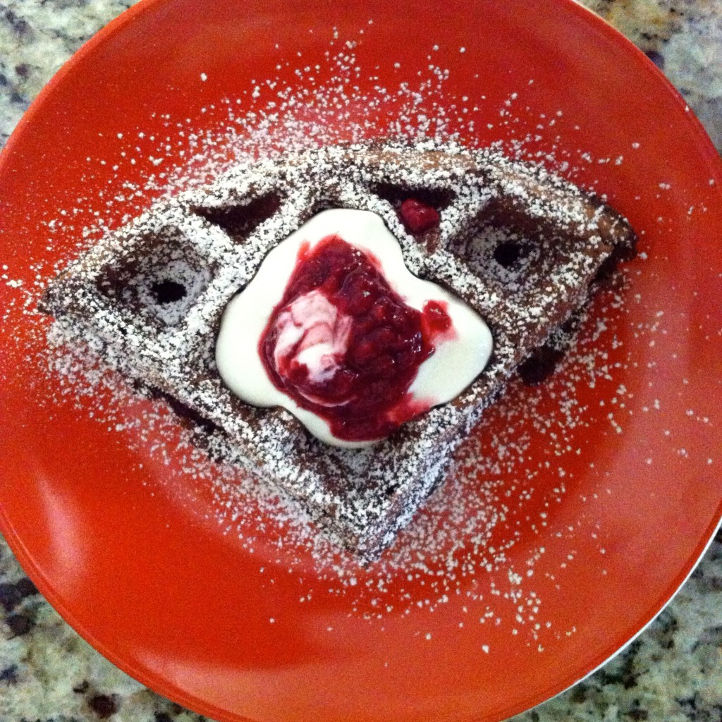 Dark Chocolate Chili Waffles with Spelt Flour and Raspberry Sauce ...